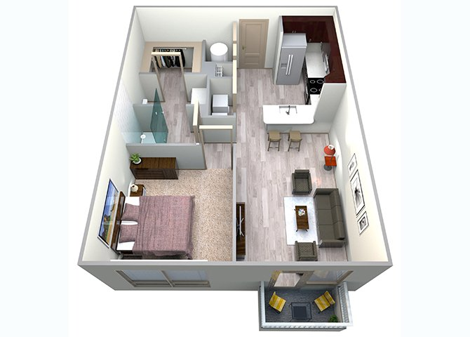 1 Bedroom 1 Bathroom Apartment for rent at Azure Houston Apartments in Houston, TX