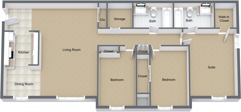 3 Bedrooms 2 Bathrooms Apartment for rent at Fox Lane in Shelby Twp, MI