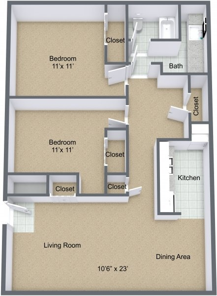 2 Bedrooms 1 Bathroom Apartment for rent at The Forum in Mount Pleasant, MI