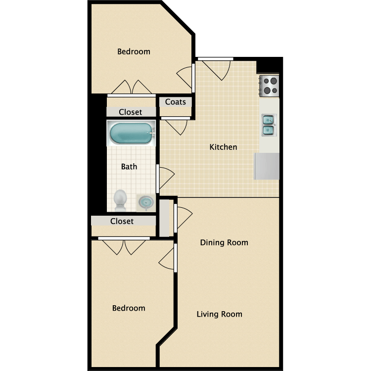 2 Bedrooms 1 Bathroom Apartment for rent at Freese's Building in Bangor, ME