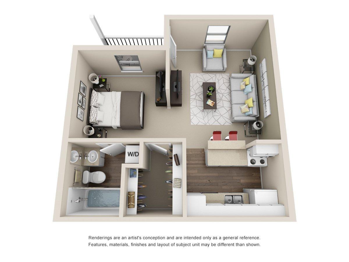 Studio 1 Bathroom Apartment for rent at Silver Creek Apartments in San Antonio, TX