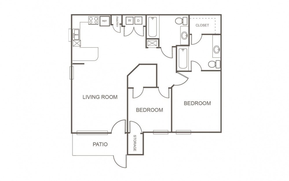 2 Bedrooms 2 Bathrooms Apartment for rent at Fountains At Tidwell in Houston, TX
