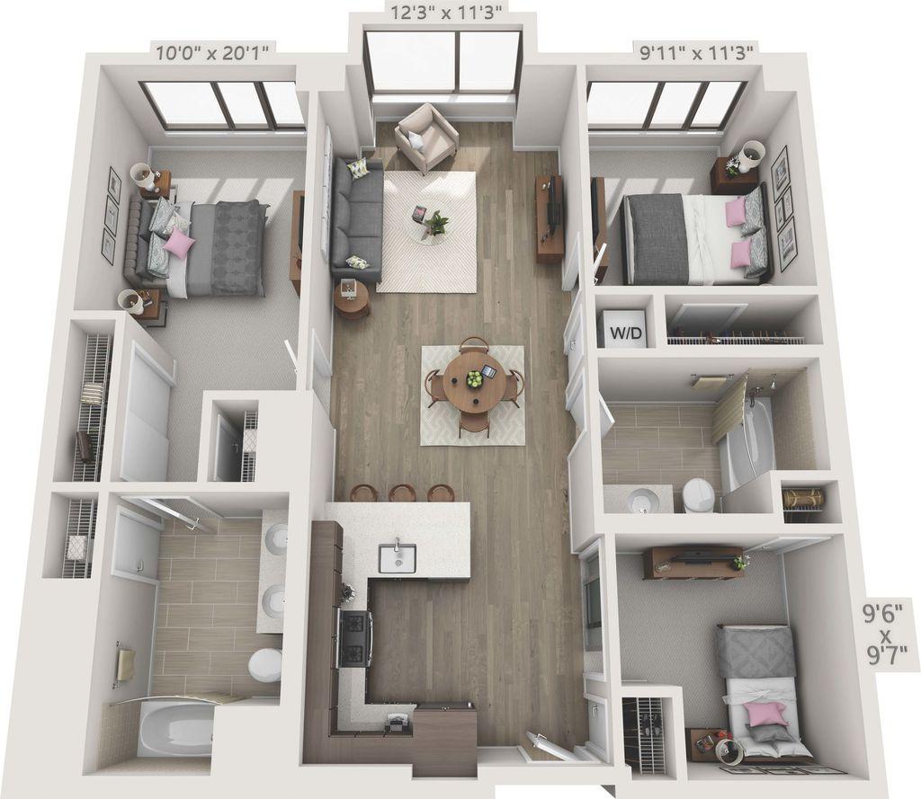 3 Bedrooms 2 Bathrooms Apartment for rent at 150 Van Ness in San Francisco, CA