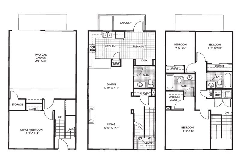 3 Bedrooms 2 Bathrooms Apartment for rent at Carmel Center Apartments in Carmel, IN