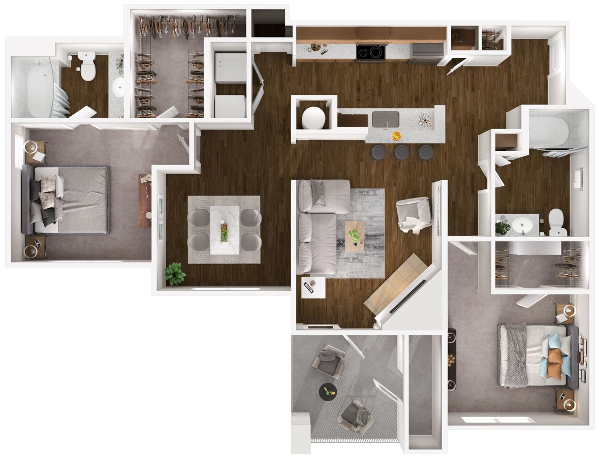 2 Bedrooms 2 Bathrooms Apartment for rent at Carmel Center Apartments in Carmel, IN