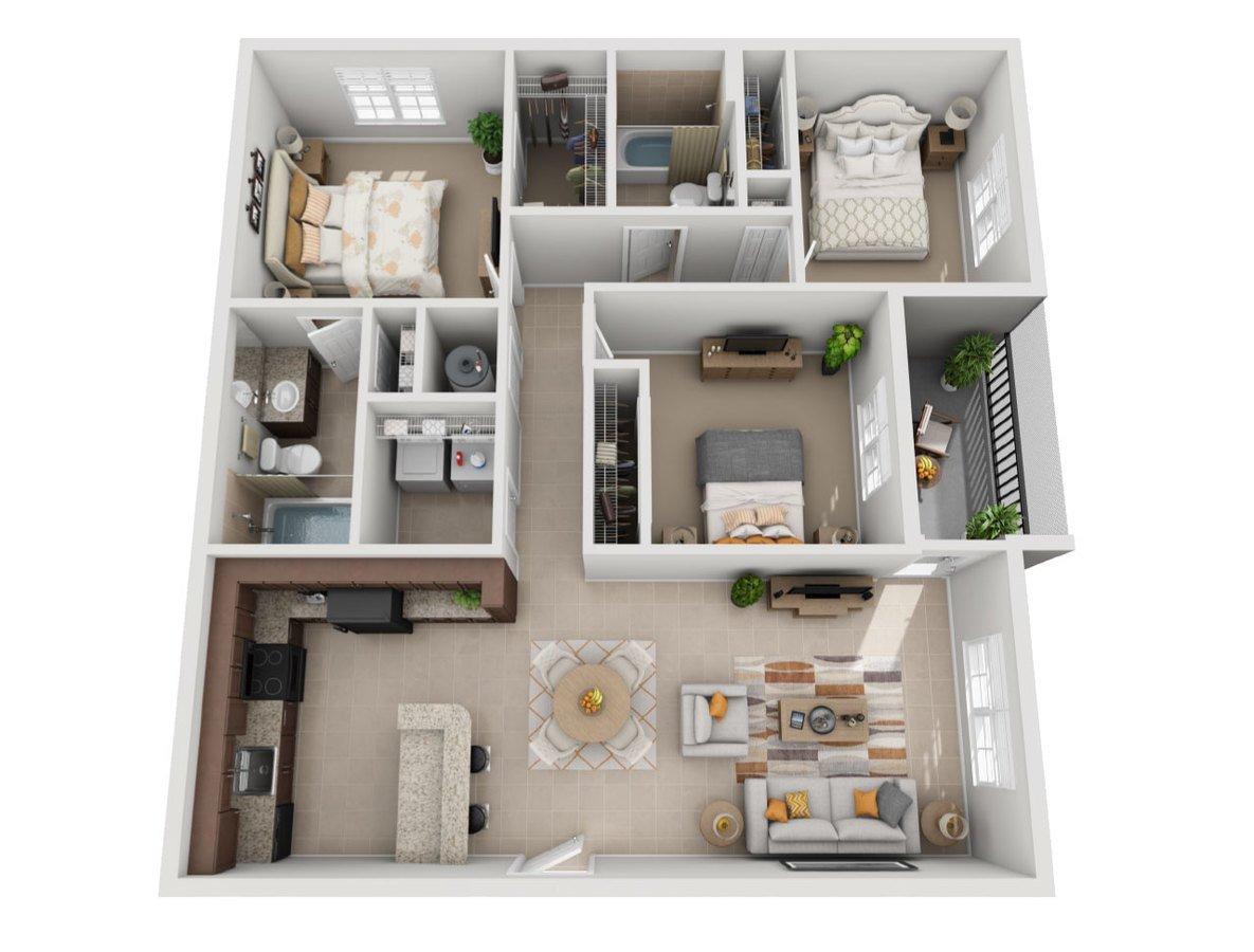 3 Bedrooms 2 Bathrooms Apartment for rent at Sierra Grande Apartments in Naples, FL