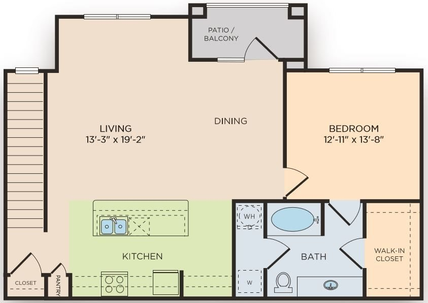 1 Bedroom 1 Bathroom Apartment for rent at The Curve At Crescent Pointe in College Station, TX