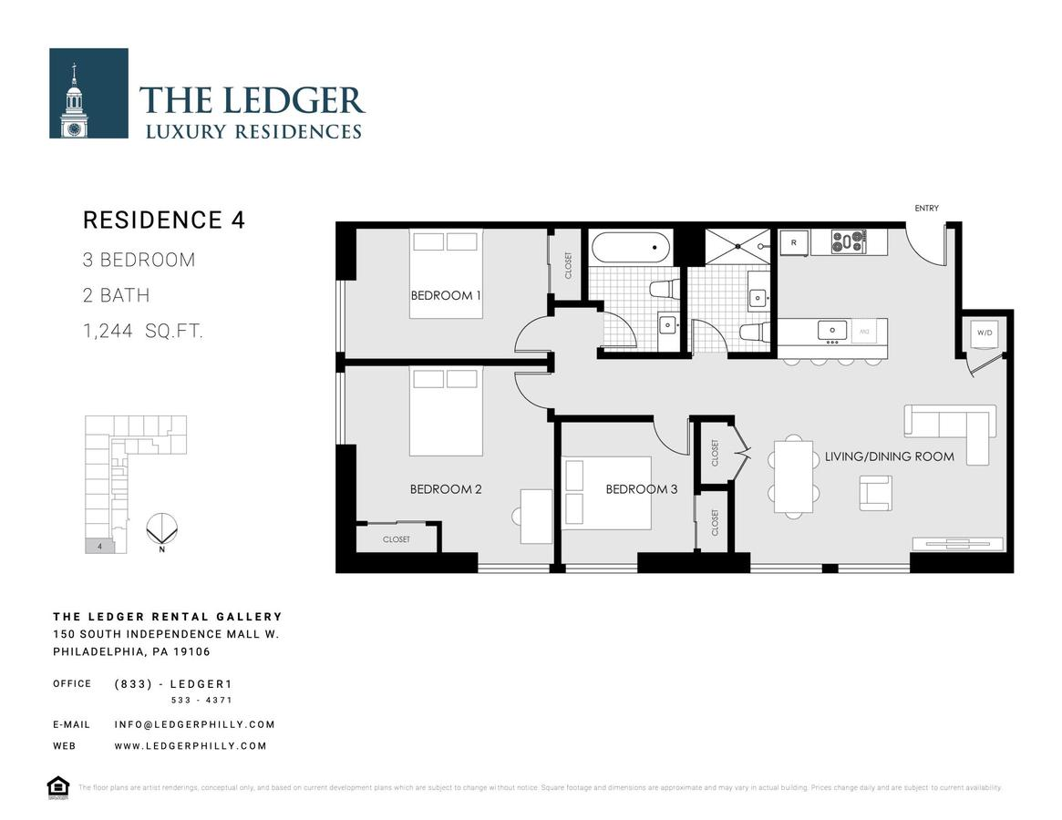3 Bedrooms 2 Bathrooms Apartment for rent at The Ledger Residences in Philadelphia, PA