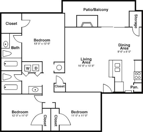 3 Bedrooms 2 Bathrooms Apartment for rent at The Summit in San Antonio, TX