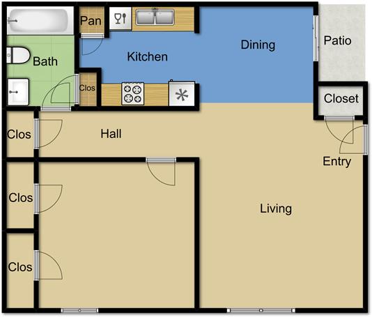 1 Bedroom 1 Bathroom Apartment for rent at Vista Park Apartments in Dallas, TX