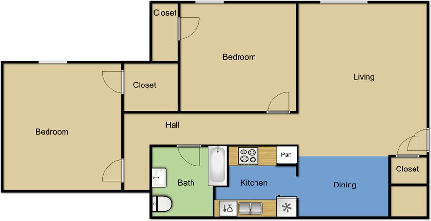 2 Bedrooms 1 Bathroom Apartment for rent at Vista Park Apartments in Dallas, TX