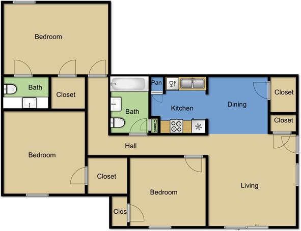 3 Bedrooms 2 Bathrooms Apartment for rent at Vista Park Apartments in Dallas, TX