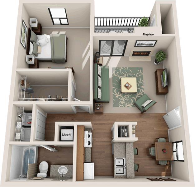 1 Bedroom 1 Bathroom Apartment for rent at RiverCrest Apartments in Waco, TX