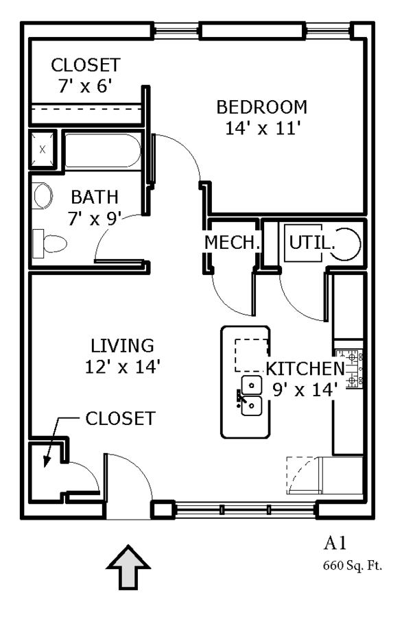 1 Bedroom 1 Bathroom Apartment for rent at Backwater Cove in Fayetteville, AR