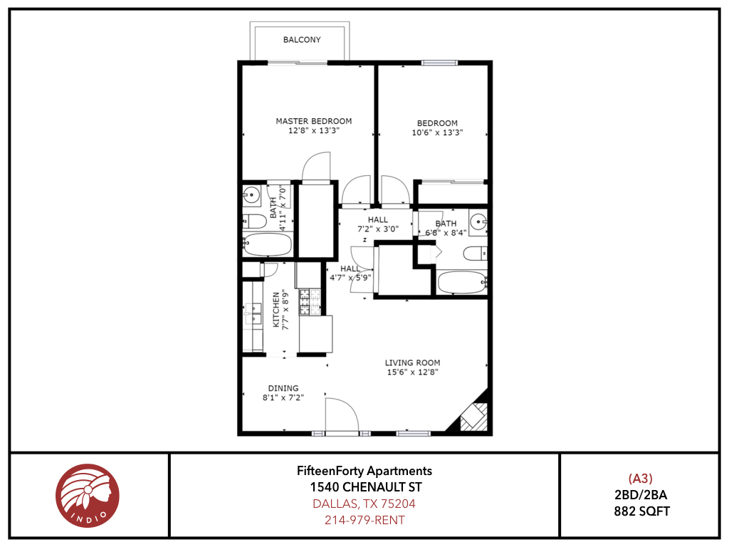 2 Bedrooms 2 Bathrooms Apartment for rent at Fifteen Forty Apartments in Dallas, TX