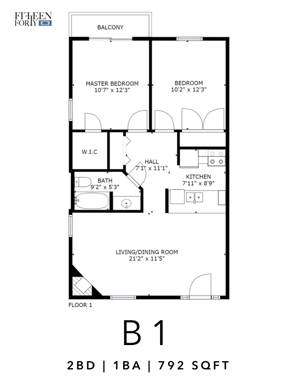 2 Bedrooms 1 Bathroom Apartment for rent at Fifteen Forty Apartments in Dallas, TX
