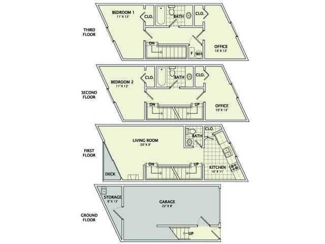 2 Bedrooms 2 Bathrooms Apartment for rent at Healey Townhomes in Champaign, IL