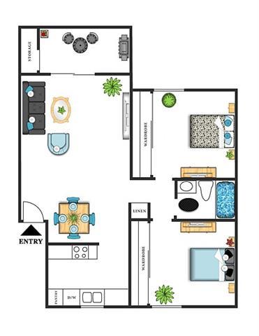 2 Bedrooms 1 Bathroom Apartment for rent at Park Mesa Villas in Costa Mesa, CA
