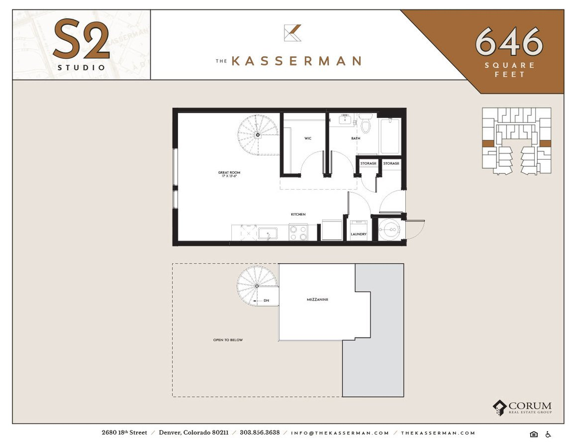Studio 1 Bathroom Apartment for rent at The Kasserman in Denver, CO