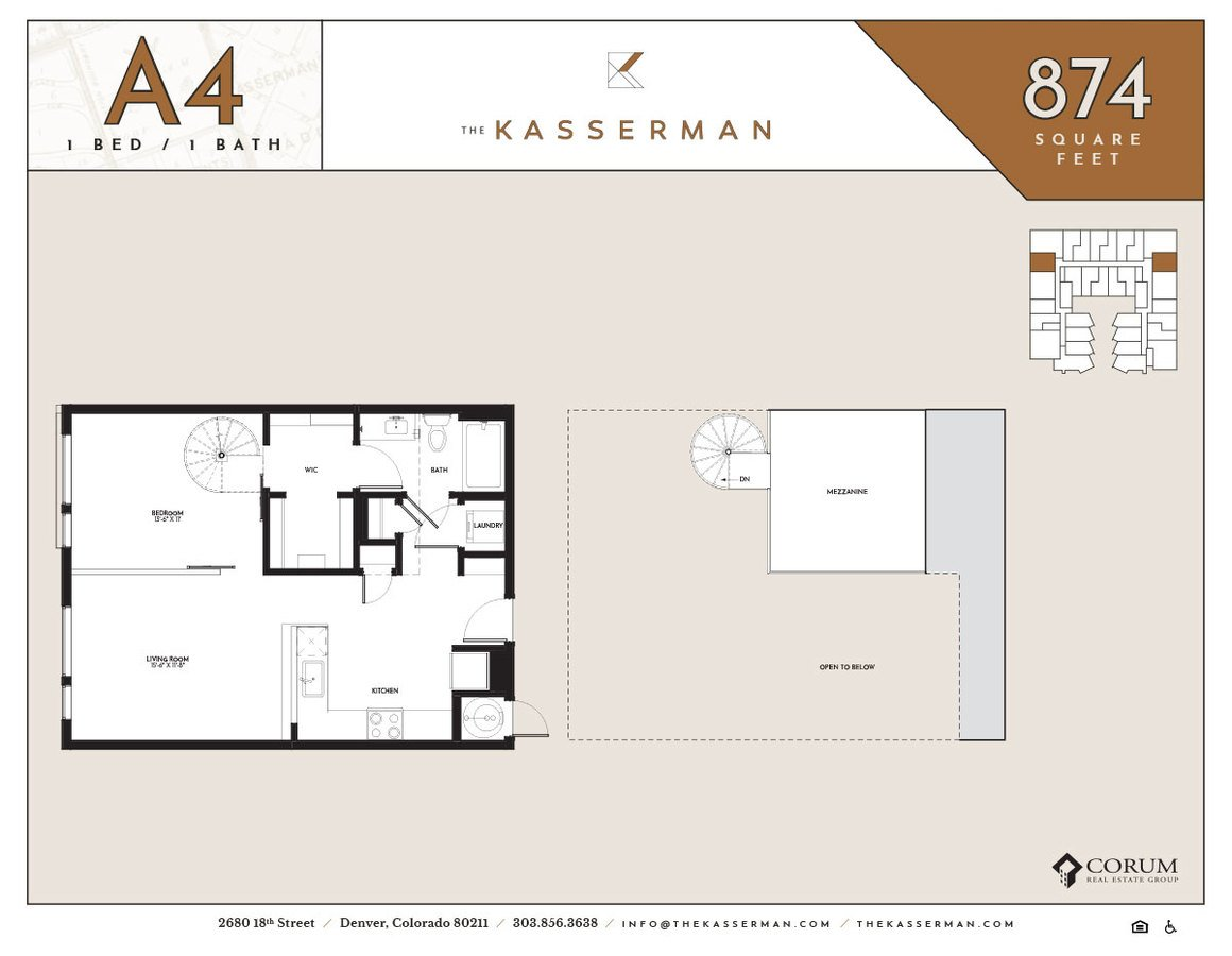 1 Bedroom 1 Bathroom Apartment for rent at The Kasserman in Denver, CO