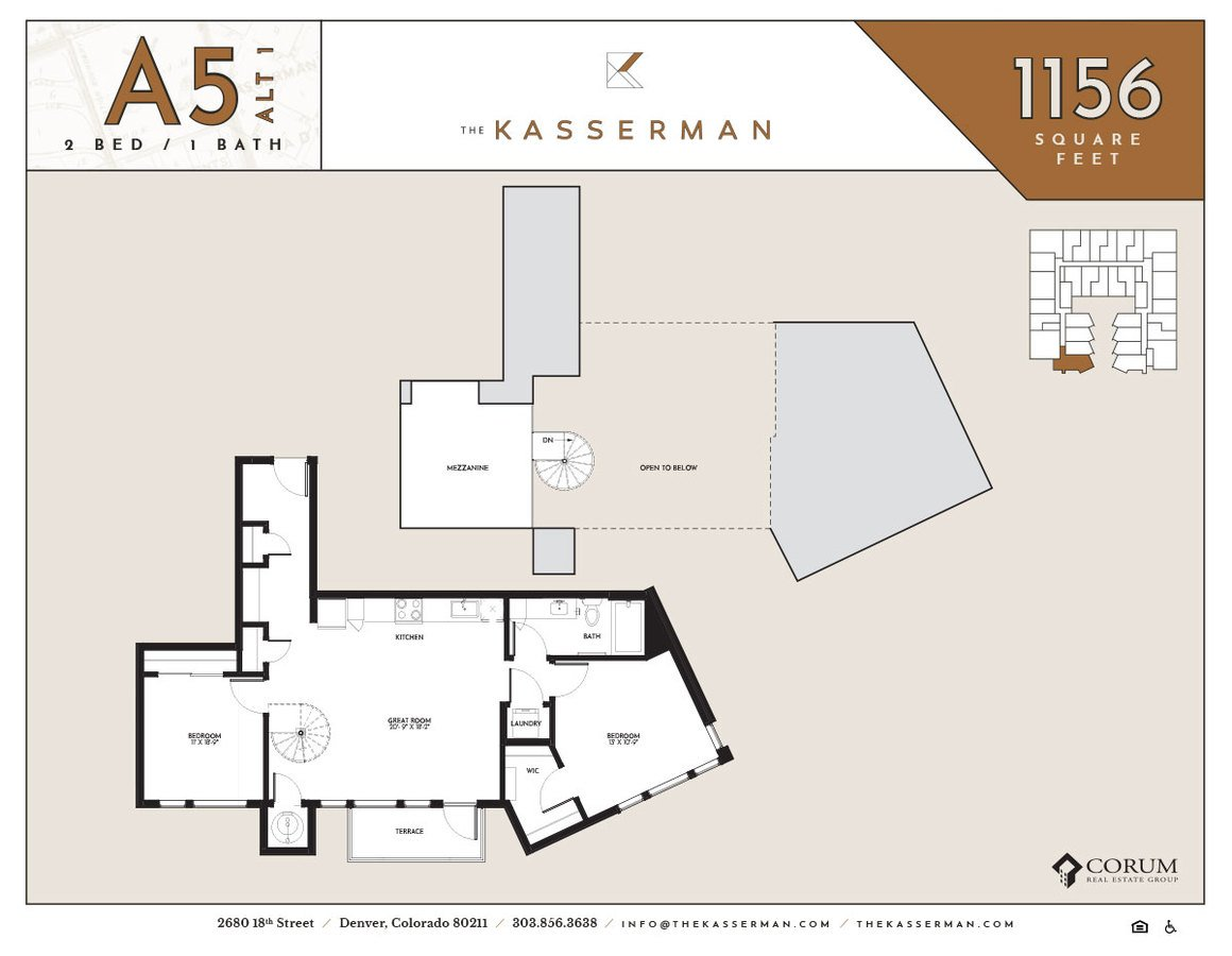 2 Bedrooms 1 Bathroom Apartment for rent at The Kasserman in Denver, CO