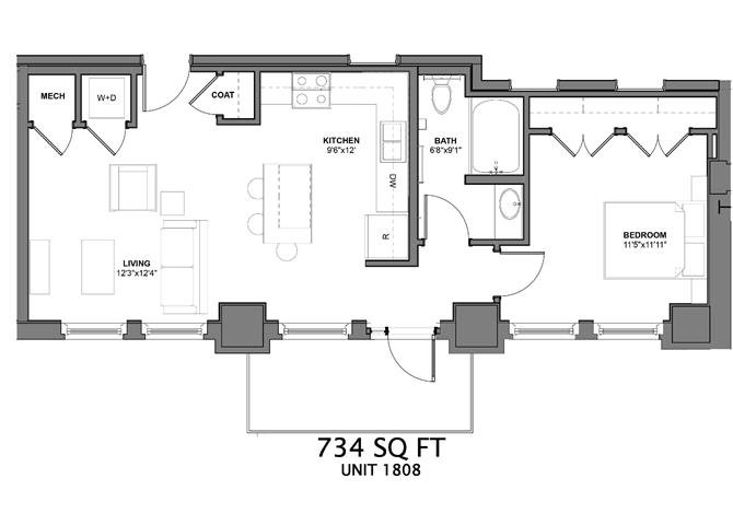 1 Bedroom 1 Bathroom Apartment for rent at Arcade Apartments in St Louis, MO
