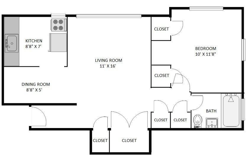 1 Bedroom 1 Bathroom Apartment for rent at Villa Wynanda in Denver, CO