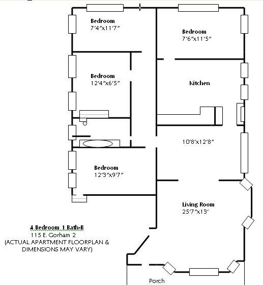 4 Bedrooms 1 Bathroom Apartment for rent at 115 E Gorham in Madison, WI