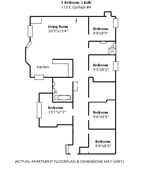 5 Bedrooms 2 Bathrooms Apartment for rent at 115 E Gorham in Madison, WI