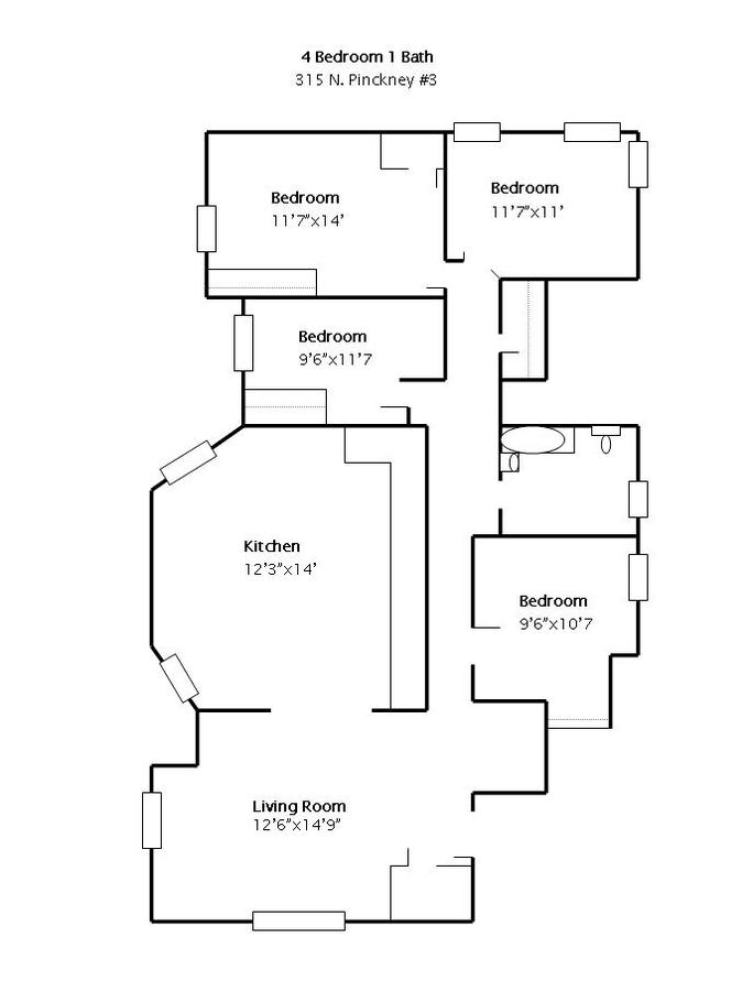 4 Bedrooms 1 Bathroom Apartment for rent at 315 N Pinckney in Madison, WI