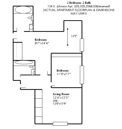 2 Bedrooms 2 Bathrooms Apartment for rent at 134 E Johnson in Madison, WI