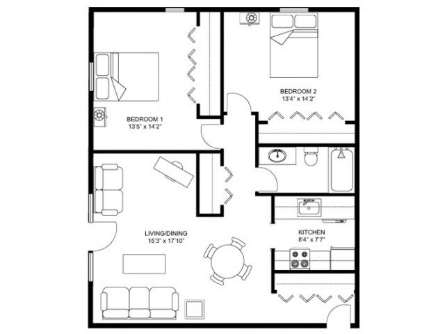 2 Bedrooms 1 Bathroom Apartment for rent at Whitcomb Corner in Madison, WI