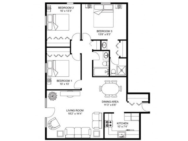 3 Bedrooms 2 Bathrooms Apartment for rent at Whitcomb Corner in Madison, WI