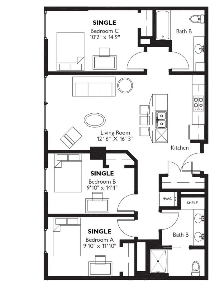 2 Bedrooms 1 Bathroom Apartment for rent at Dorm @ Lucky in Madison, WI