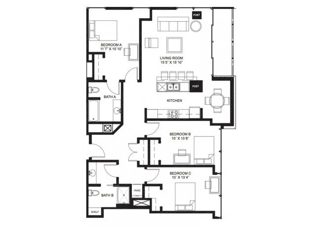3 Bedrooms 2 Bathrooms Apartment for rent at Lucky in Madison, WI