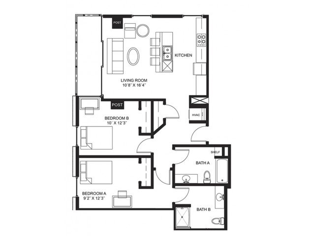 2 Bedrooms 2 Bathrooms Apartment for rent at Lucky in Madison, WI