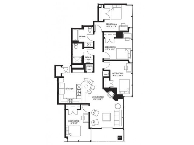 4 Bedrooms 2 Bathrooms Apartment for rent at Lucky in Madison, WI