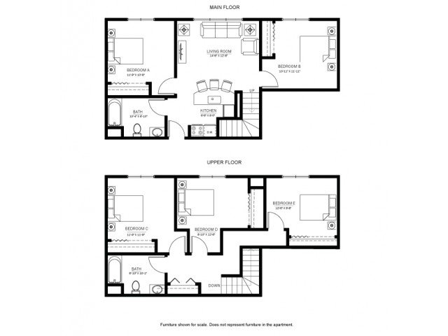 5 Bedrooms 2 Bathrooms Apartment for rent at 625 on Langdon in Madison, WI