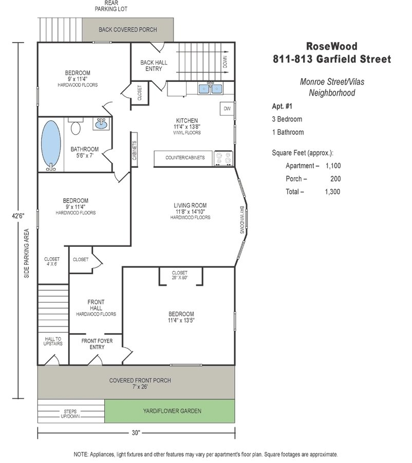 3 Bedrooms 1 Bathroom Apartment for rent at 813 Garfield St in Madison, WI