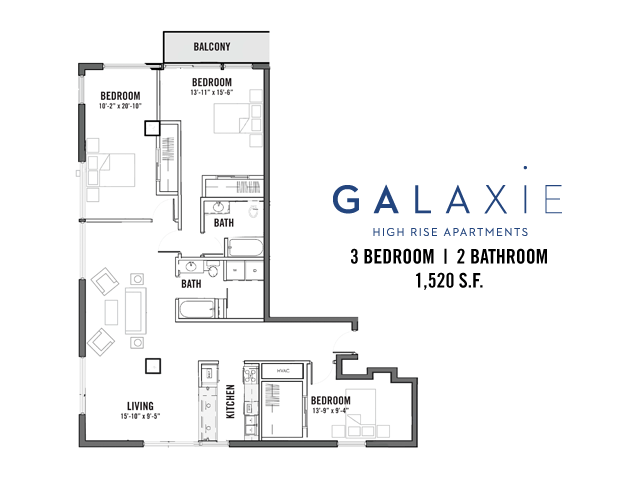 3 Bedrooms 2 Bathrooms Apartment for rent at Galaxie in Madison, WI