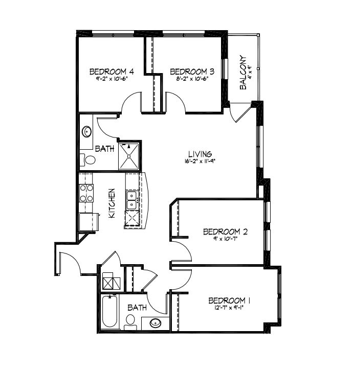 4 Bedrooms 2 Bathrooms Apartment for rent at Telluride Apartments in Iowa City, IA