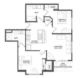 2 Bedrooms 2 Bathrooms Apartment for rent at Whistler Apartments in Iowa City, IA