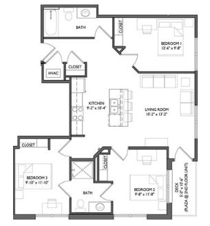 3 Bedrooms 2 Bathrooms Apartment for rent at Whistler Apartments in Iowa City, IA