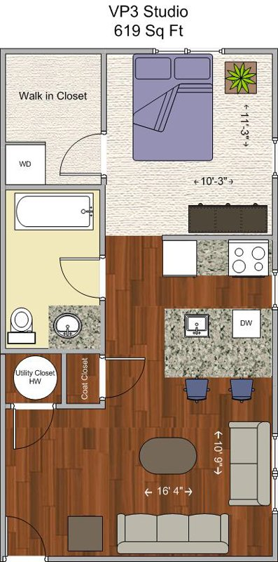 Studio 1 Bathroom Apartment for rent at V P 3 in Cincinnati, OH