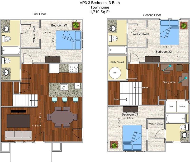 3 Bedrooms 3 Bathrooms Apartment for rent at V P 3 in Cincinnati, OH