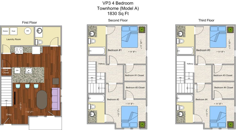 4 Bedrooms 4+ Bathrooms Apartment for rent at V P 3 in Cincinnati, OH