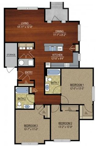 3 Bedrooms 2 Bathrooms Apartment for rent at East Village at Avondale Meadows Apartments in Indianapolis, IN
