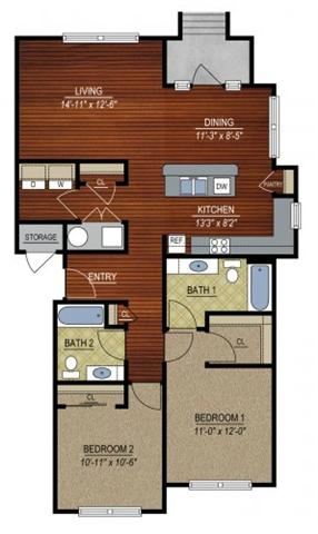2 Bedrooms 2 Bathrooms Apartment for rent at East Village at Avondale Meadows Apartments in Indianapolis, IN