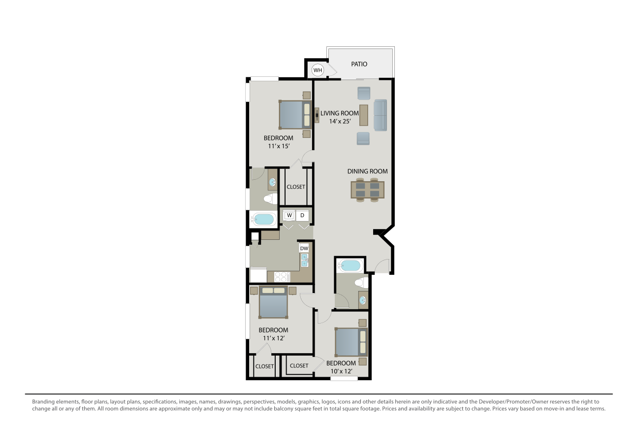 3 Bedrooms 2 Bathrooms Apartment for rent at Cambridge Park in San Diego, CA