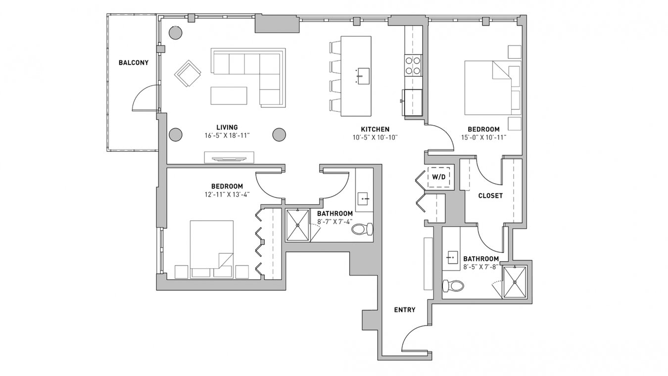 2 Bedrooms 2 Bathrooms Apartment for rent at The Pressman in Madison, WI